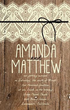 Custom Western Wood and Lace Wedding Invitation by Joyinvitations, $196.00