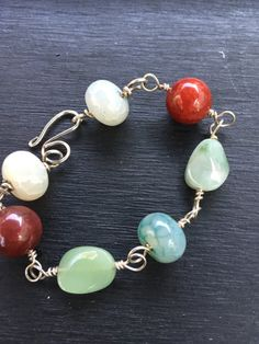 Semiprecious Stone on Silver Wire Bracelet by StoneSupport on Etsy