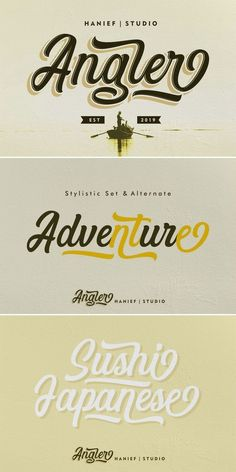 The Angler #typeface is inspired by contemporary fashion and streetwear as well as hand lettering styles. Script Fonts, Handwritten Quotes, Modern Script Font, Modern Typography, Typographic Design, New Fonts, Hand Lettering Styles, Lettering Design, Contemporary Fashion