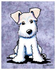 "Draw Dogs KiniArt Wire Fox Terrier by Kim Niles - ""KiniArt Wire Fox Terrier"" by Kim Niles: Wirehaired Fox Terrier dog breed art by children's book Illustrator, Kim Niles of KiniArt Studios."
