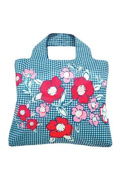 Stick a cute gingham-and-rose Envirosax collapsible tote in your regular purse for impromptu trips to open air flea markets this summer.
