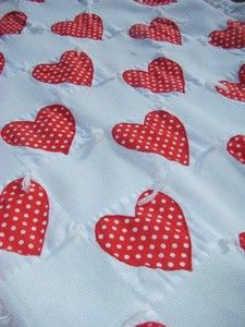 Lovely Valentine hearts; just in time for Christmas! Eyelet country lace trim!  For a great cause; the 2012 hay & feed fund!