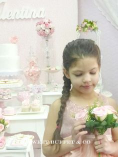 Valentina's 7th Birthday   CatchMyParty.com 7th Birthday, Birthday Parties, Shabby Chic Birthday Party Ideas, Sweet Buffet, Photo Galleries, Flower Girl Dresses, Wedding Dresses, Decorating Tables, Peace