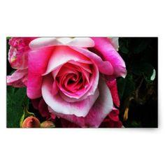 Bright Pink Rose Rectangular Sticker - wedding stickers unique design cool sticker gift idea marriage party