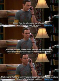 Being part of the pizza tradition :) | #sheldon #pizza #humor #tbbt #tv #comedy