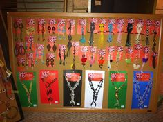 Craft show jewelry display for earrings keychains and barefoot sandals
