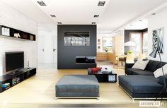 Projekt domu Mati G1 - wizualizacja salonu - zdjęcie od Pracownia Projektowa ARCHIPELAG - Salon - Styl Minimalistyczny - Pracownia Projektowa ARCHIPELAG