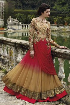 Net Semi Stitched Designer Gown In Beige and Red Colour