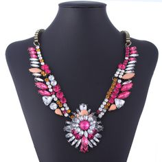 Elegant Colorful Resin Special Design Inlay Drill Alloy Link Chain Necklace Women Ladies Jewelry Necklace