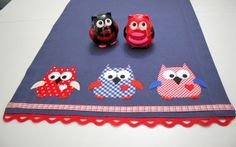 Owl Appliqued Table RunnerIndigo Blue Linen Fabric by sesideco, $45.00