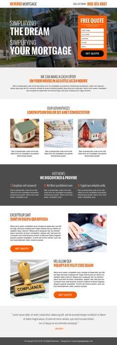Buy and download landing page design or squeeze page design - mortgage templates