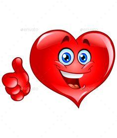 Buy Thumbs up Heart by yayayoyo on GraphicRiver. Emoticon thumb up heart Heart Smiley, Heart Emoticon, Love Smiley, Smiley Emoji, Thumbs Up Smiley, Thumbs Up Icon, Emoji Movie, Funny Emoji, Emoji Cara Feliz