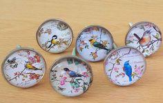 Vintage Style Metal Glass Silver Drawer Knob Cabinet Door Handle Pull Bird | eBay