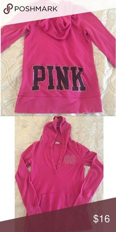 PINK by Victoria's Secret long sleeve hooded shirt Hot pink long sleeve shirt with hoodie by PINK Victoria's Secret. Button down front with pockets. Material is cotton and polyester. Size large but closer to a small/medium fit PINK Tops Tees - Long Sleeve