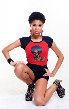 Kinky Tees Clothing Company, Online Boutique - AFRO CHÍC (Red/Black), $26.00 (http://www.kinky-tees.com/products/afro-chi-c-red-black.html)