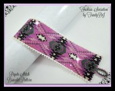 FUCHSIA SENSATION - PEYOTE STITCH CUFF is a Peyote Stitch Design that has been designed for the use of Delica beads #11.