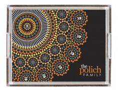 "designer trays -spooky groove     Deliver a stylish breakfast in bed, or use as a ""catch all' for personal items. Great gift to be used in the office as an  in-box, with perfume in a powder room or on a baby's changing table. The perfect gift for mom or new bride & groom! The possibilities are endless, we can't wait to see how you use your new custom piece of acrylic art!"