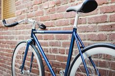 As cool as an autumn breeze. Navy blue frame + anodized silver deep dish wheels.   #purefix #classicbike