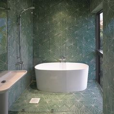 It's green but it works. Fully tiled green bathroom _ Marrakech Design's collection by Claesson Koivisto Rune.