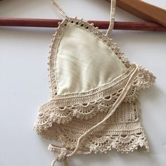 Lace Bralette crochet bralette crochet bikini top by yarnhole Crochet Bra, Crochet Bikini Pattern, Crochet Bikini Top, Crochet Blouse, Crochet Clothes, Crochet Patterns, Bralette Pattern, Bra Pattern, Lace Bralette