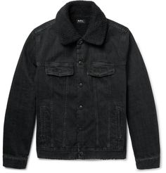 Stylish gents rely on A.P.C. for its selection of easy-to-wear wardrobe classics, like this black denim jacket. Cut for a comfortable fit, it is carefully washed to achieve a well-worn look and fully lined in cosy faux shearling. Layer it over a simple shirt and jeans on cool days.