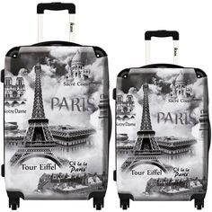 Smog in Paris by Ikase, Multicolor Harside Spinner Luggage Set, Multi Cute Luggage, Best Luggage, Luggage Sets, Suitcase Set, Spinner Suitcase, Tour Eiffel, Travel Style, Travel Bag, Lightest Suitcase