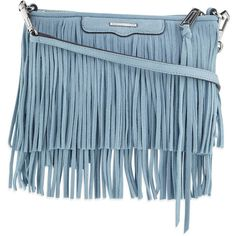 Rebecca Minkoff Finn Fringe Suede Crossbody Bag ($210) ❤ liked on Polyvore featuring bags, handbags, shoulder bags, sky, fringe handbags, blue crossbody, crossbody handbag, crossbody purse and blue suede purse