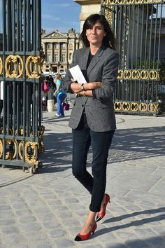 """I love Emmanuelle Alt's """"uniform"""" look. I have the opposite body. I'm an apple and she has hips. So, I can't tuck in like her but I'd love to find a """"go to"""" style like she has."""