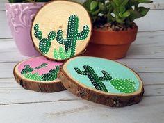 Cactus Coaster Wooden Coaster Cacti Succulent Garden Hand