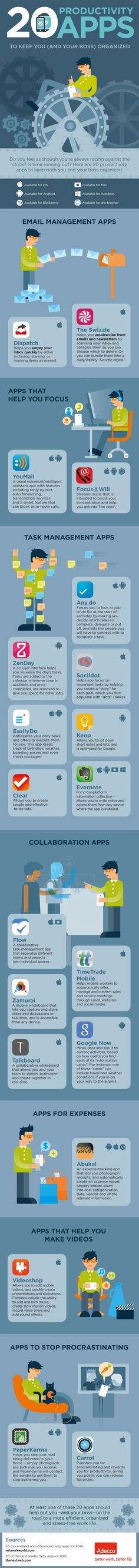 20 Productivity Apps To Keep You (And Your Boss) Organized --shared by Neomam on Jul 11, 2014 - See more at: http://punktat.at