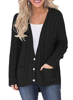 35154f52cf Sidefeel Women Casual Button Down Open Front Sweater Cardigan Outwear Large  Black Pockets