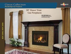 """DV 2000 33"""" Direct Vent gas fireplace is a quality leisure product designed and manufactured by Woodbridge Fireplace Inc. Heavy gauge metal construction, tempered or ceramic glass, different color choices for the brick liner,  handcrafted ceramic fiber log set, optional thermostat blower and electronic ignition system are available. All made in Canada and USA! Please see our WEB site for more info. We ship all over North America! Designer's and Dealer's discounts available. Direct Vent Gas Fireplace, Fireplace Inserts, Electric Fireplace, Fireplace Showroom, Custom Fireplace, Biofuel Fireplace, Gas Fireplaces, Ceramic Fiber, Ignition System"""