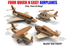 Buy and build the Four Quick N Easy Airplanes full-size wood toy plan set!