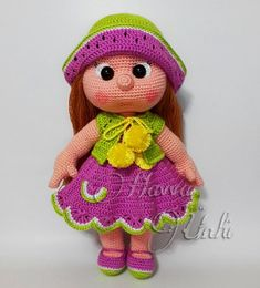 Amigurumi Crochet Patterns for Handmade Dolls and Toys by HavvaDesigns Crochet Dolls Free Patterns, Crochet Doll Pattern, Doll Patterns, Crochet Patterns Amigurumi, Amigurumi Doll, Crochet Toys, Crochet Doll Clothes, Knitted Dolls, Watermelon Dress