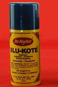 """""""Blue Kote is a quick-drying, protective wound dressing to treat ringworm, skin abrasions and surface wounds. It covers the wound with a deep, penetrating coating to promote clean, rapid healing. It works well for birds who have been pecked. Blue Kote has an unpleasant taste to help stop cannibalism."""" -Murray McMurray Hatchery"""