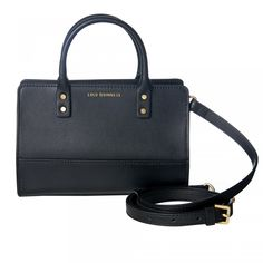 Black Smooth Leather Mini Daphne: <p>With its antique gold hardware, the black Mini Daphne is a small but perfectly formed accessorising option. Ideal to carry in hand or cross body with the adjustable strap, this cute and on-trend mini bag will make a true designer statement.</p> - Visit Lulu Guinness at https://www.luluguinness.com/