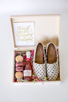 """Will you be my Bridesmaid?"" gift idea - cute box of macaroons, mini champagne, and polka dot @toms {Crystal Downs}"