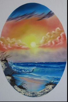 Bob Ross Art - again Bob using masking material to mask his canvas and create the oval shape - niver - MReno