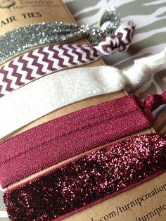 Aggies Gig 'em FOE Hair Ties Maroon, Chevron, White Maroon Silver Glitter Texas A&M elastic pony tail holder