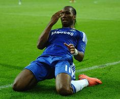 MUNICH, GERMANY - MAY 19:  Didier Drogba of Chelsea celebrates after scoring his team's first goal during UEFA Champions League Final between FC Bayern Muenchen and Chelsea at the Fussball Arena München on May 19, 2012 in Munich, Germany.  (Photo by Laurence Griffiths/Getty Images)