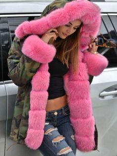 con capucha Mant Las mujeres-señora-invierno-langer warmer fuerte Parka-faux-Pelz-chaquetas