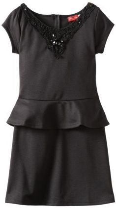 Ruby Rox Kids Girls 7-16 Ponte Peplum Dress, Black, 16 Ruby Rox,http ...
