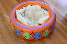 upcycled rubber tire pet bed, painted furniture, pets, pets animals, repurposing upcycling