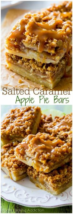 Salted Caramel Apple Pie Bars are mind-blowing delicious! So much easier to make than an entire apple pie, too.These Salted Caramel Apple Pie Bars are mind-blowing delicious! So much easier to make than an entire apple pie, too. Apple Recipes, Sweet Recipes, Baking Recipes, Dessert Recipes, Baking Desserts, Baking Ideas, Cake Recipes, Yummy Recipes, Cake Baking