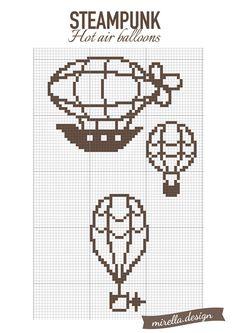 Steampunk hot air balloons by Mirella-Gabriele on DeviantArt Steampunk Patterns, Steampunk Design, Steampunk Diy, Cross Stitching, Cross Stitch Embroidery, Cross Stitch Patterns, Minecraft Creations, Minecraft Designs, Terraria