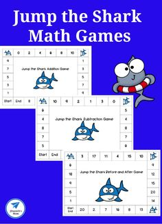 Jump the Shark Math Games for Early Learners - JDaniel4s Mom #mathgames #addition #subtraction #numberrecognition #editable #shark #sharkweek #jdaniel4smom