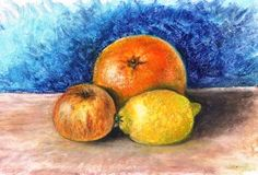 oil pastel drawing fruit - Google Search