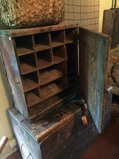 Early cubby with a breadboarded door Primitive Furniture, Primitive Antiques, Primitive Decor, Country Primitive, Antique Furniture, Primitive Cabinets, Wooden Furniture, Old Wooden Boxes, Wooden Bowls
