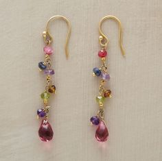 """Petite danglers of 22kt gold vermeil glow with ruby, iolite, amethyst, smoky quartz, peridot and pink crystal. Handmade. Exclusive. 1-7/8""""L. 75.00"""
