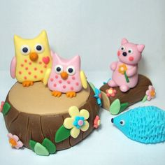 Forest Friends Set of 6 Cake Toppers For by SweetTouchDecor. $28.00, via Etsy.